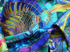 Batik shawl 'Fish''' handpainted on silk. by BatikAndIconography, $160.00