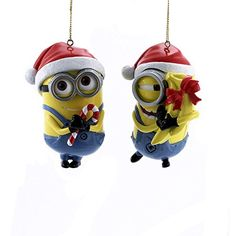 DIY Minion Ornaments. 'Nuff said. These are pretty easy to make. I used glass ornaments and paint from Michaels, adhesive vinyl from Amazon, and ribbon to