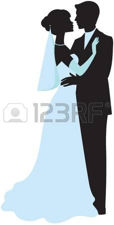 Silhouette of bride and groom photo