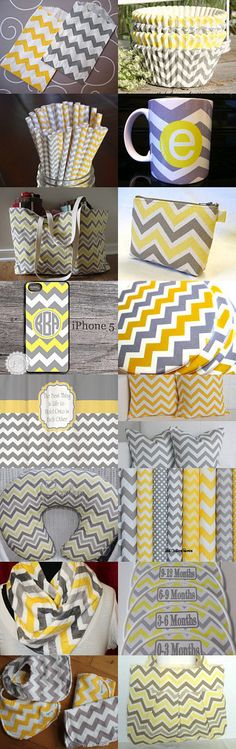 Yellow & Grey item with a chevron pattern. Loving this pattern!