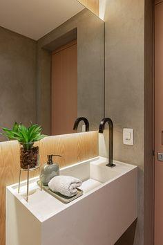 Bathroom Design Luxury, Bathroom Interior, Polished Concrete Tiles, Lavabo Design, Downstairs Toilet, Modern Architecture House, Bathroom Inspiration, Interiores Design, Decoration