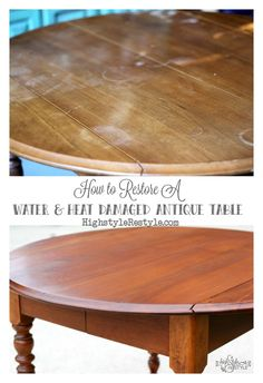 How to Restore Heat & Water Damaged Antique Dropleaf Tabletop — Highstyle ReStyle  http://www.highstylerestyle.com/blog/how-to-restore-an-antique-dropleaf-tabletop