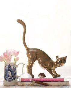 Extra Large Vintage Brass Siamese Cat by alovelybeing on Etsy, $78.00