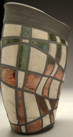 Raku Pottery  Wall Pocket  Copper Green Checkerboard by clayguyry, $72.00