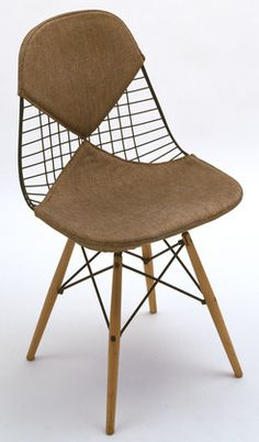Charles Eames (American, 1907–1978). Side Chair (model PKW-2). Herman Miller, Inc., Zeeland, MI. 1951. Wire, wood legs, and padded fabric cushion.