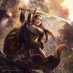 "foxy-nerdy: ""Veteran Sword-Elf by Monztre ""\  Gemma vibes, though she's darker in color"