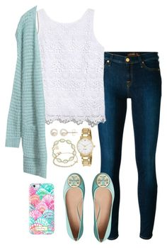 """""""Preppy contest entry"""" by valerienwashington ❤ liked on Polyvore featuring 7 For All Mankind, Lilly Pulitzer, Tory Burch, Kate Spade, Kendra Scott, Alex and Ani, Honora, women's clothing, women's fashion and women"""
