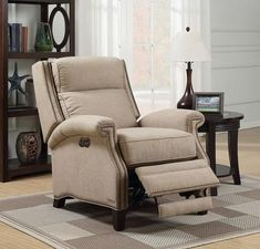 The Barrett Collection 34 Power Recliner is a classic with wing back. power recline and footrest extension. It features kneed back key shaped arms. tailored pub back. loose welted boxed seat cushion with pocketed coil springs encased. Hooker Furniture, Furniture Making, Furniture Design, Business Furniture, Furniture Companies, Lazy Boy Recliner, Barcalounger, Seat Foam, Glider And Ottoman