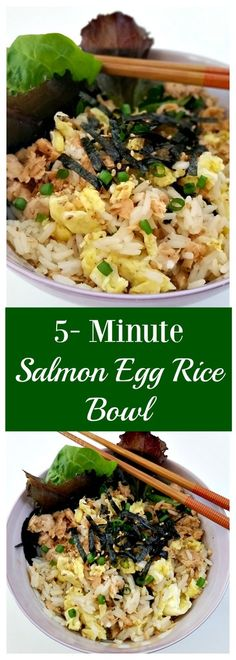 5-minute Salmon Egg Rice Bowl Recipe. Use Minute® Ready to Serve Rice & Chicken of the Sea Flavored Salmon pouches for a quick and nutritious meal. AD SalmonLovesRice @minutericeUS  @ChickenoftheSea