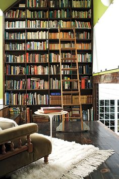 A particularly extensive library wall in textile and rug designer Rosemary Hallgarten's home, to be viewable soon in the Winter 2013 issue of New England Home Connecticut.