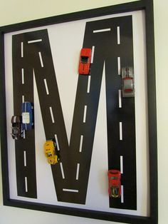 Car/road monogram wall art for boys room.