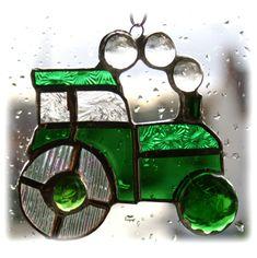 Tractor Suncatcher Green Stained Glass Handmade Farm £12.50