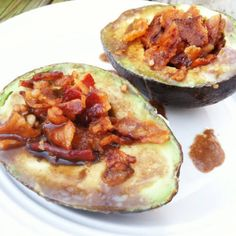 You've got to try these sinfully delicious avocados filled with bacon and then glazed with balsamic. Utterly fantastic.