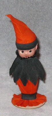 Vintage Halloween Collectible ~ Celluloid Party Favor Kewpie Doll in Crepe Paper Costume