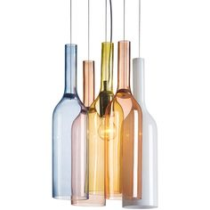 Dot & Bo Madison Avenue Pendant Light (2,895 CNY) ❤ liked on Polyvore featuring home, lighting, ceiling lights, glass pendant lamp, glass light, colored glass lamps, glass pendant light and glass bottles