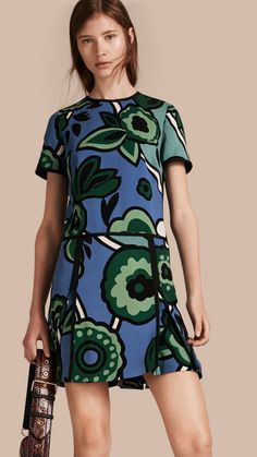 Bright steel blue Graphic Floral Dropped-waist Dress - Image 1