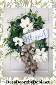 Hand crafted wreaths and swags for all occasions. by DecoDoorzbyDebi Mesh Wreaths, Wreaths For Front Door, Magnolia Wreath, Year Round Wreath, Wreath Crafts, Summer Wreath, Porch Decorating, Grapevine Wreath, Floral Arrangements