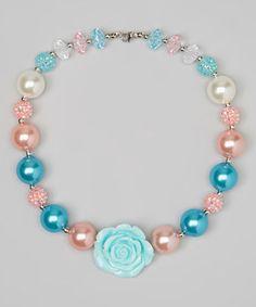 Look at this #zulilyfind! Pink & Aqua Bead Necklace by Pixiedust Pretties #zulilyfinds