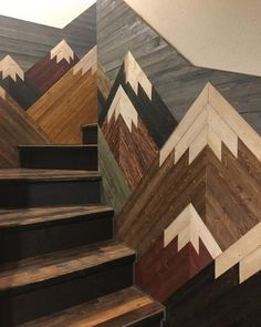 garten treppe Mountain Mosaic on Staircase Mountain Mosaic on Staircase You are in the right place about tile Stairs Here we offer you the most beautiful pictures about Home Renovation, Basement Renovations, Escalier Art, Future House, My House, My New Room, Home Design, My Dream Home, Home Projects