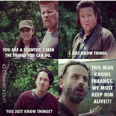 Does He Know Stuff? - The Walking Dead Memes that live on after the characters and season ended. Memes are the REAL zombies of the show. Zombies The Walking Dead, Memes The Walking Dead, Walking Dead Tv Show, Real Zombies, Best Tv Shows, Best Shows Ever, The Walk Dead, Twd Memes, Funny Memes