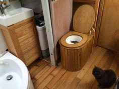 Kildwick Kraft 380 compost toilet installed on Narrowboat… Toilet And Bathroom Design, Toilet Design, Bathroom Ideas, Canal Boat Interior, Camper Interior Design, Narrowboat Interiors, Toilet Installation, Outdoor Toilet, Composting Toilet