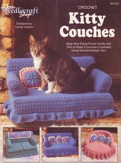 This is just amazing...Kitty Couches Crochet Patterns 3 Designs and similar items - Bonanza