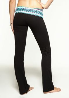 cute yoga pants i like the design at the top of them