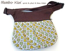 banane/poche ceinture marron tissu kitsch réglable femme : Etuis, mini sacs par mambo-kiwi