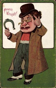 Ansichtskarte / Postkarte Glückwunsch Neujahr, Mann mit Mantel und Melone, Hufeisen