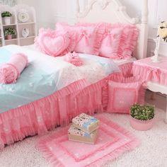 FADFAY Home Textile,New 2014,Korean Cute Girls Fairy Polka Dots Bedding Set,Pink Lace Ruffle Duvet Cover Bedding Set,4/7Pcs FADFAY http://www.amazon.com/dp/B00K157BI8/ref=cm_sw_r_pi_dp_jUoOtb00XQN84Z19