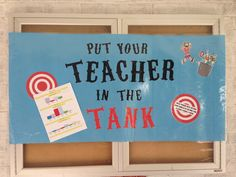 School Carnival:  Put your Teacher in the Tank (Dunk Tank) ... Notice the bar graphs of leading teachers.