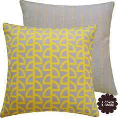 "Havana Banana Collection - 18"" Square Double Sided Couch Pillow with Feather Insert - Geometric and Stribes - Yellow, Gray, Grey Hues - 1 Pillow, 2 Looks by Chloe & Olive, http://www.amazon.com/dp/B00BF5ZH7U/ref=cm_sw_r_pi_dp_GtDpsb0W49AT8"
