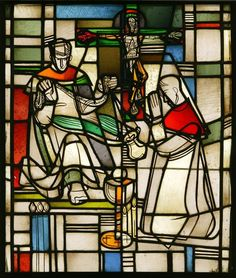 Clear and coloured glass with painted details and silver stain, depicting two kneeling monks. Designed by Georg Meistermann and made by Hein Derix Studio. German (Kevelaer), about Museum Number Stained Glass Paint, Stained Glass Projects, Eucharist, Aboriginal Art, Cathedrals, Color Theory, Colored Glass, Glass Art, Artists