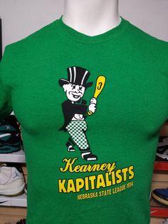 """Rare Ebbets Field Flannels T-shirt """"Kearney Kapitalists"""" Baseball Nebraska VTG S #Ebbetsfieldflannels #KearneyKapitalists"""