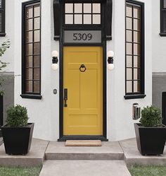 A beautiful home exterior can make or break curb appeal. We asked our professionals their top 14 curb appeal tips and some are so simple we had to share! Exterior Door Hardware, Exterior Door Colors, Exterior Doors, Entry Doors, Exterior Paint, Exterior Design, Garage Doors, Yellow Front Doors, Painted Front Doors