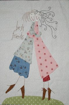 Best Friends by Anni Downs Hand Applique, Wool Applique, Applique Patterns, Applique Quilts, Embroidery Applique, Embroidery Stitches, Quilt Patterns, Machine Embroidery, Embroidery Designs