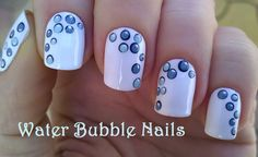 Water bubble #nails - #White #nailart using #dottingtool - For more easy nail ideas pls visit: https://www.youtube.com/user/LifeWorldWomen