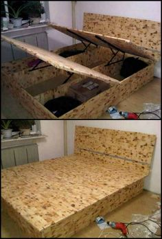 How To Build A Lift Top Storage Bed http://theownerbuildernetwork.co/n6q1 Maximize the space in your bedroom with this DIY lift top storage bed!