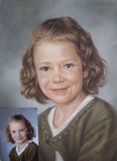 Portrait in soft pastel by Nicky Nickolov -- finished portrait & reference photo for speed painting
