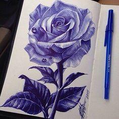 Behind The Scenes By art_spotlight Ink Pen Art, Ballpoint Pen Drawing, Ink Pen Drawings, Art Drawings Sketches, Stylo Art, Pen Sketch, Crayon, Flower Art, Illustration