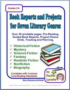 Book Reports and Project Choice Grids for 7 Genres! 30+ pgs $
