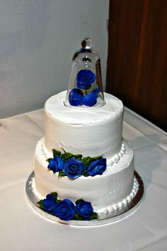 Our Wedding Cake Very Simple Two Tier Raspberry Swirl With Whipped Icing And Royal Blue Fondant Flowers Topper Was A