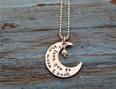I LOVE YOU to the MOON and Back Disc Hand by SomethingAboutSilver, $36.00   How adorable is this!? I Love it!