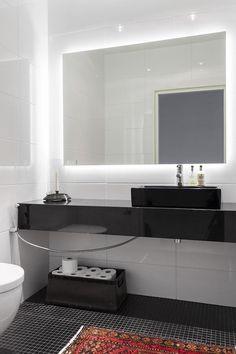 Back lighted mirror in bathroom