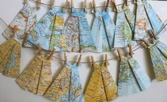 Origami Paper Dresses Map or Vintage  Set of 20  by StudioToto, $12.00
