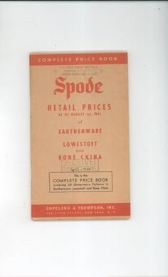 Spode Complete Price Book Retail As Of August 1941 Not PDF Vintage How Cool Available In Store Now @