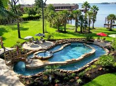 Pool, lazy river, hot tub, waterfront, amazing garden