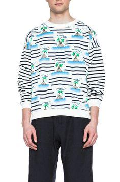 Julien David Island Stripe Cotton Sweater in White