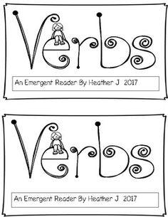 verbs, emergent reader, first grade, reading, printable, parts of speech, sight words
