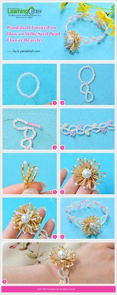 Pandahall Tutorial on How to Make Seed Bead Flower Bracelet from LC.Pandahall.com